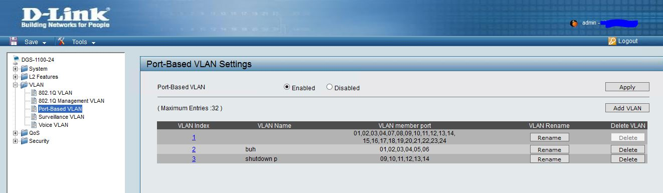 Port-Based VLAN на коммутаторе D-link DGS-1100-24