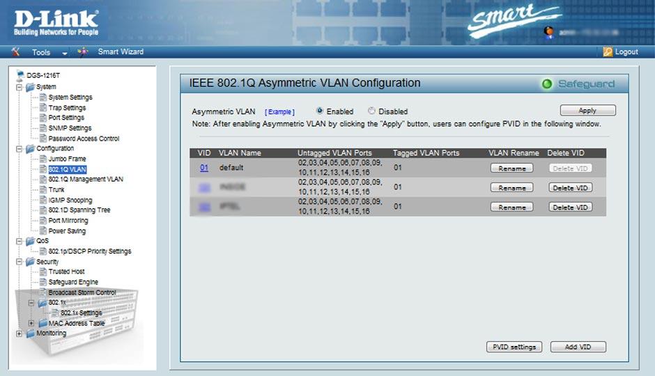 Настройка асимметричного VLAN